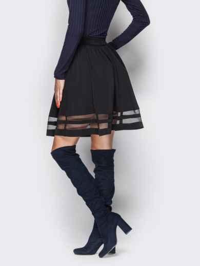 Расклешенная юбка с фатиновыми вставками чёрная 22614, фото 2