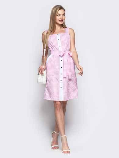 Розовый сарафан на широких бретелях с пуговицами - 21810, фото 1 – интернет-магазин Dressa