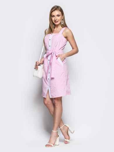 Розовый сарафан на широких бретелях с пуговицами - 21810, фото 2 – интернет-магазин Dressa