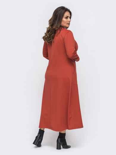 Терракотовое платье батал с карманами и принтом на полочке 50994, фото 2