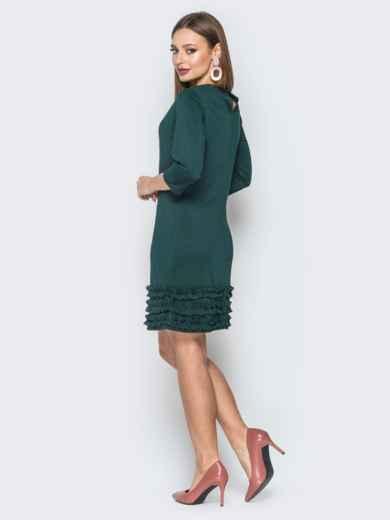 Зелёное платье с пуговищами сзади и рюшами 19368, фото 3