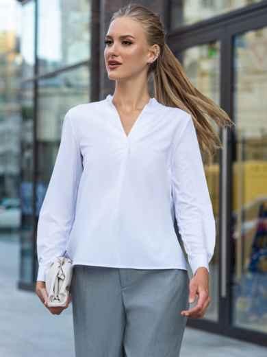 Белая блузка прямого кроя с рюшей по горловине 49686, фото 2