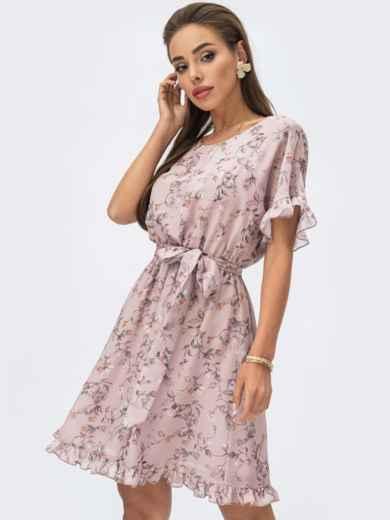 Пудровое платье из шифона с принтом и юбкой-клеш 53698, фото 1