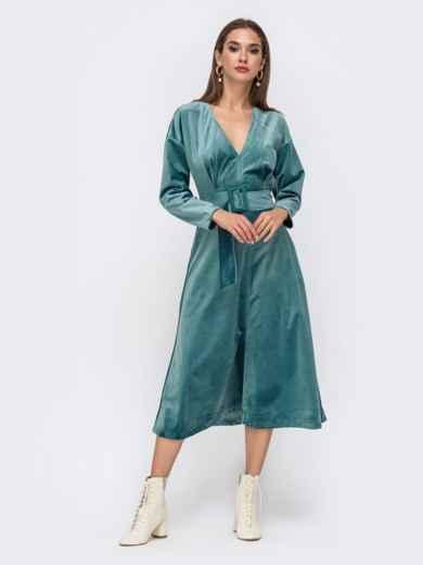 Бархатное платье с V-вырезом и расклешенной юбкой бирюзовое 41749, фото 1