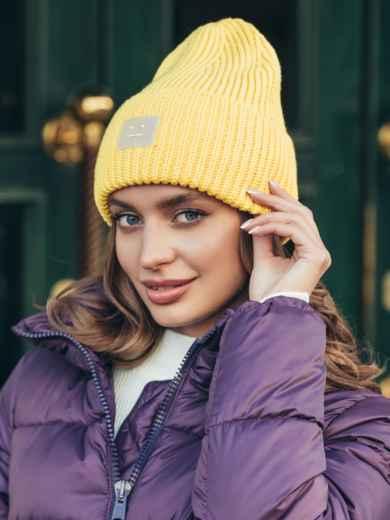 Демисезонная шапка с подворотом желтая 55355, фото 1