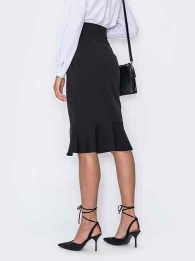 Чёрная юбка-карандаш с оборкой по низу 49688, фото 2