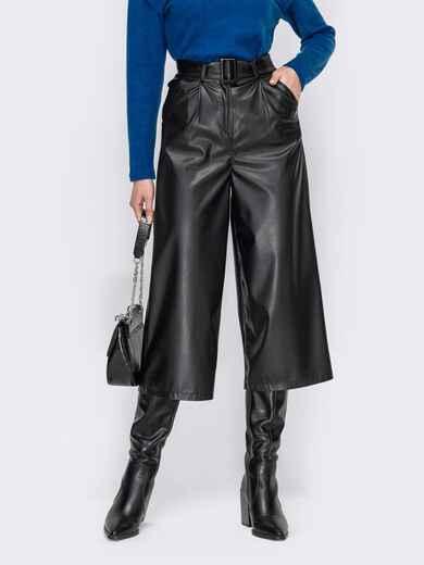 Черные брюки-кюлоты из экокожи 53317, фото 1