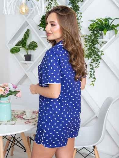 Пижама из рубашки с короткими рукавами и шорт синяя - 20690, фото 2 – интернет-магазин Dressa