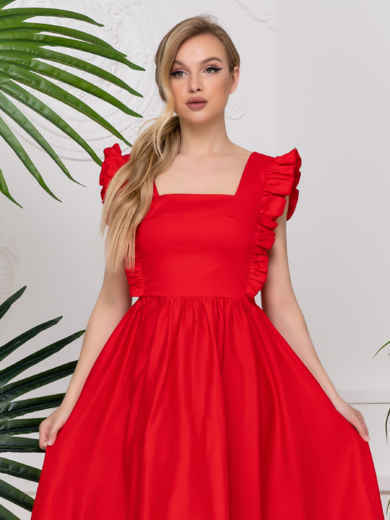 Платье с квадратным вырезом и расклешенной юбкой красное 48783, фото 2