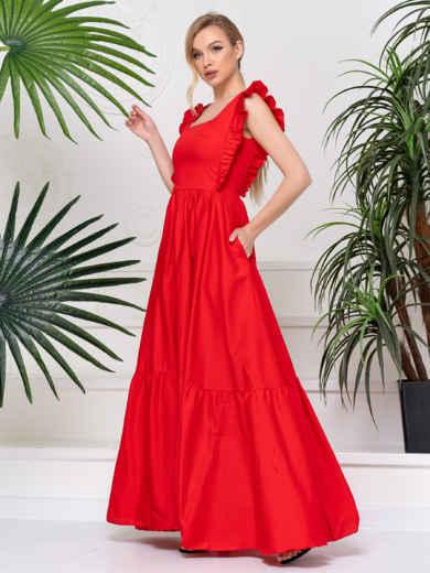 Платье с квадратным вырезом и расклешенной юбкой красное 48783, фото 3