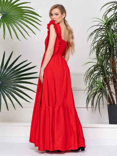 Платье с квадратным вырезом и расклешенной юбкой красное 48783, фото 4