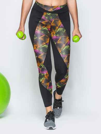 Спортивные лосины с широким поясом и цветными вставками - 17189, фото 1 – интернет-магазин Dressa