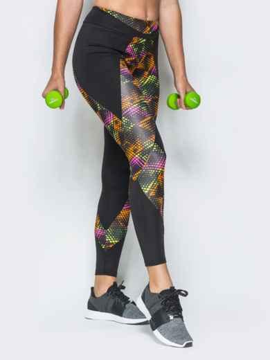 Спортивные лосины с широким поясом и цветными вставками - 17189, фото 2 – интернет-магазин Dressa