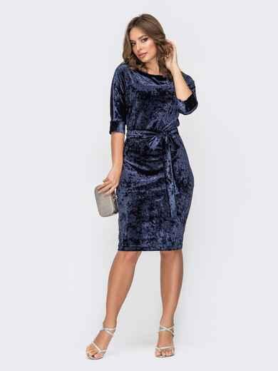 Тёмно-синее платье-миди из бархата 52292, фото 1