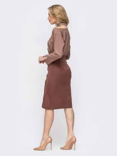 Бежевый комплект из блузки и юбки-карандаш 45652, фото 3