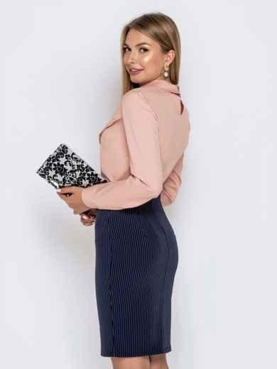 Блузка из софта пудрового цвета - 39990, фото 2 – интернет-магазин Dressa