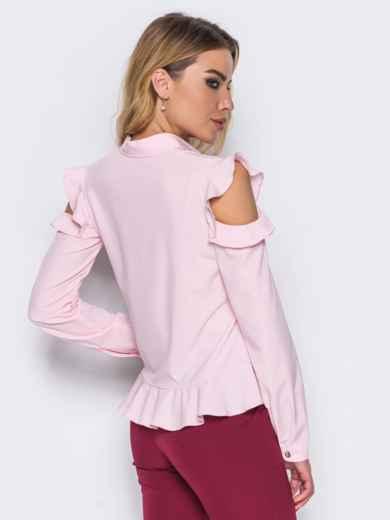 Блузка с воланом понизу и открытыми плечами розовая - 14123, фото 2 – интернет-магазин Dressa