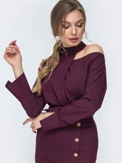 Бордовый комплект из блузки и юбки-карандаш 45653, фото 2