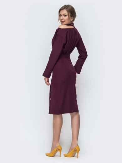 Бордовый комплект из блузки и юбки-карандаш 45653, фото 3