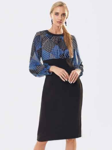 Черное платье с контрастным лифом из шифона 53652, фото 1