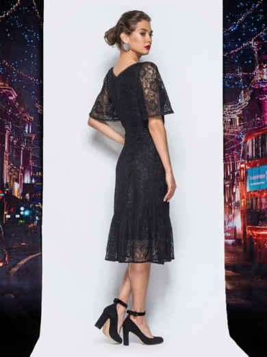 Гипюровое платье с подкладкой и воланом по низу черное 18228, фото 3