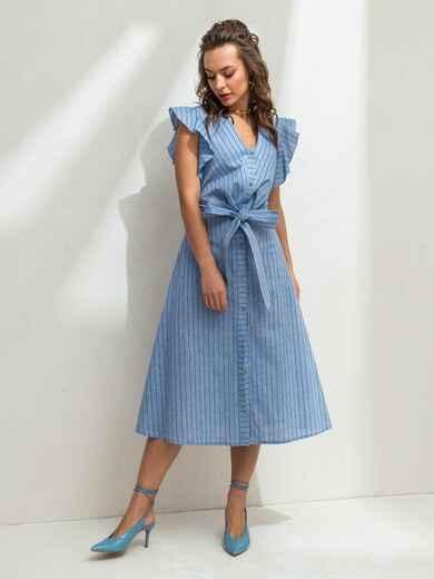 """Голубое платье в полоску с рукавом """"крылышко"""" 46819, фото 2"""