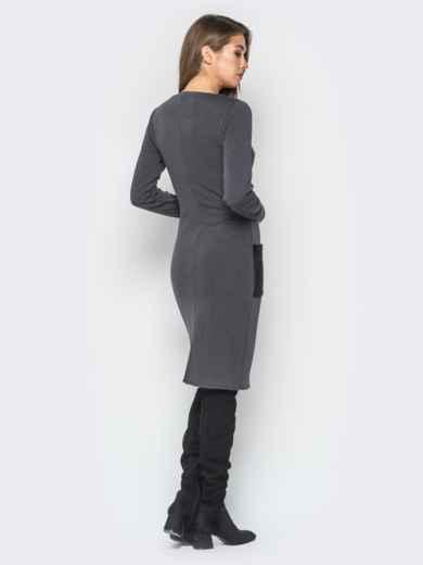 Платье на меху с накладными карманами серое - 18192, фото 3 – интернет-магазин Dressa