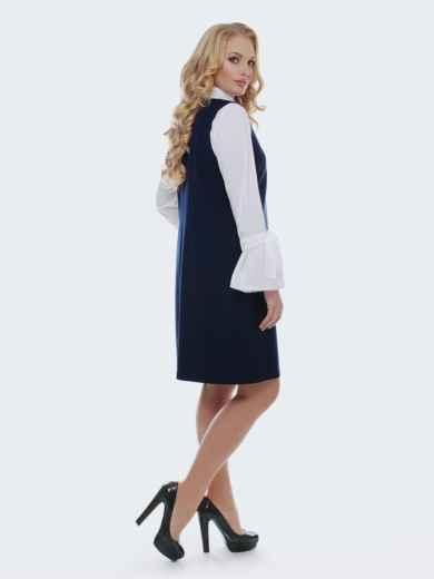 Приталенный сарафан с стиле casual синего цвета - 37136, фото 2 – интернет-магазин Dressa
