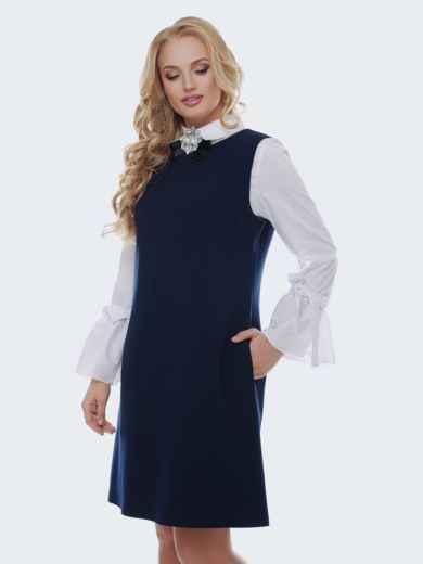 Приталенный сарафан с стиле casual синего цвета - 37136, фото 3 – интернет-магазин Dressa