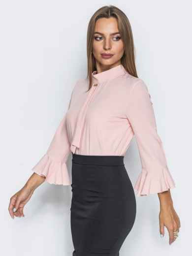 Пудровая блузка с имитацией галстука - 13241, фото 3 – интернет-магазин Dressa