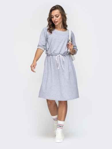 Спортивное платье с кулиской по талии серое 45658, фото 2