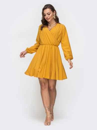 Желтое платье с расклешенной юбкой и резинкой по талии 45660, фото 2