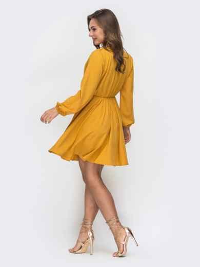 Желтое платье с расклешенной юбкой и резинкой по талии 45660, фото 3