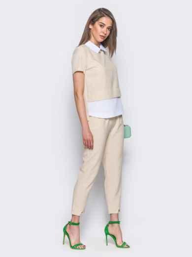 Бежевый комплект с имитацией белой блузки под футболкой 10484, фото 2