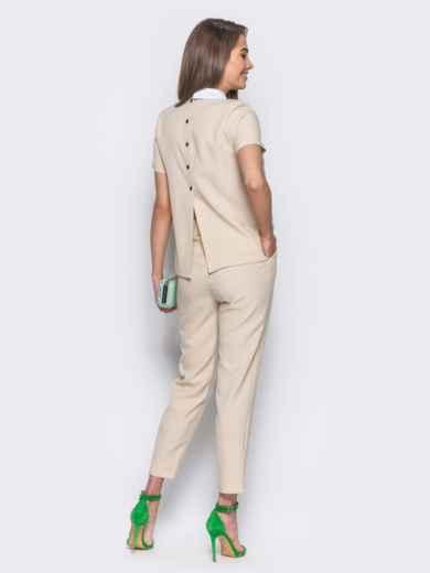 Бежевый комплект с имитацией белой блузки под футболкой 10484, фото 3