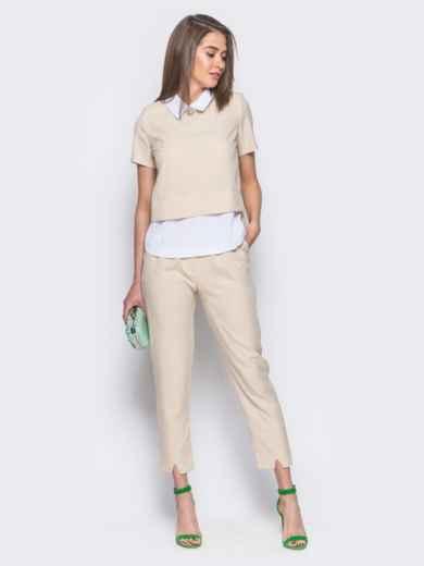 Бежевый комплект с имитацией белой блузки под футболкой 10484, фото 1
