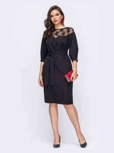 Черное платье батал со вствками кружева 51306, фото 1