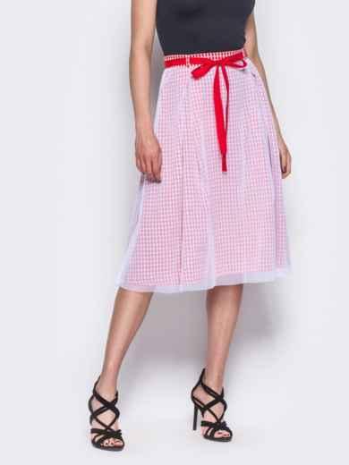 Хлопковая юбка-миди с фатиновой сеткой красная 12161, фото 1