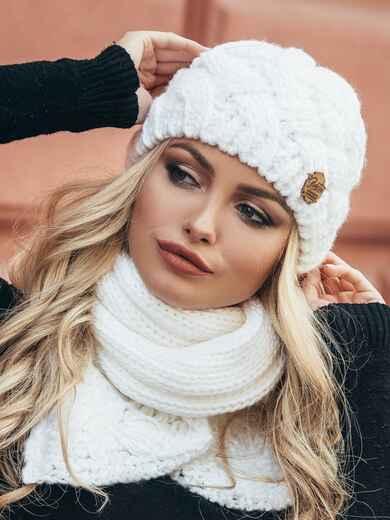 Комплект из шапки и шарфа белый 15567, фото 1