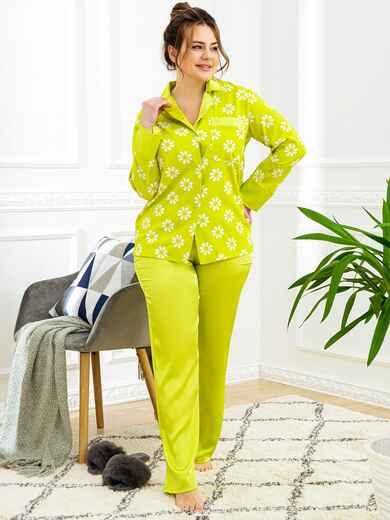 Пижама батал с цветочным принтом и брюками зеленая 53181, фото 1