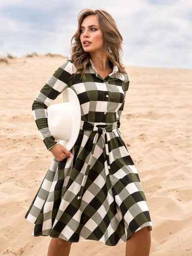 Платье в клетку цвета хаки с расклешенной юбкой - 41597, фото 1 – интернет-магазин Dressa