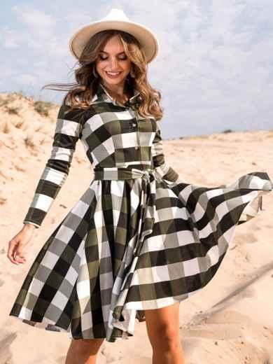 Платье в клетку цвета хаки с расклешенной юбкой - 41597, фото 2 – интернет-магазин Dressa