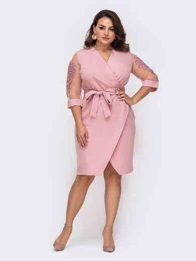 Розовое платье с лифом на фиксированный запах батал 51320, фото 1