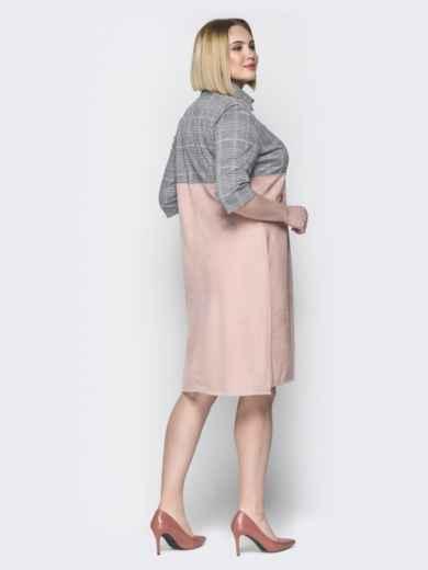 Розовое платье с серой кокеткой в клетку и лампасами - 19982, фото 2 – интернет-магазин Dressa