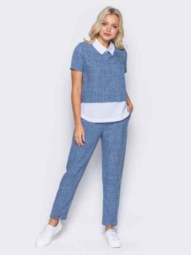 Синий комплект с имитацией белой блузки под футболкой - 10486, фото 2 – интернет-магазин Dressa