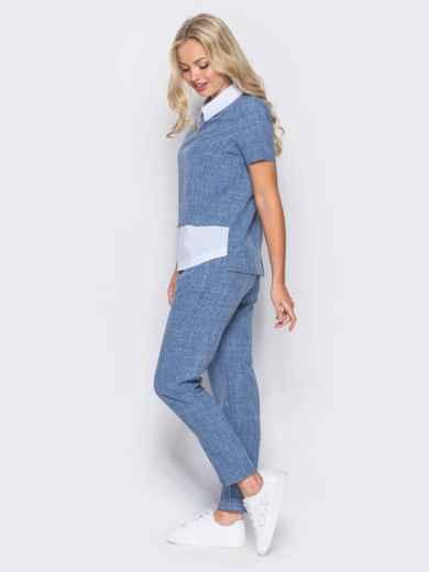Синий комплект с имитацией белой блузки под футболкой - 10486, фото 3 – интернет-магазин Dressa