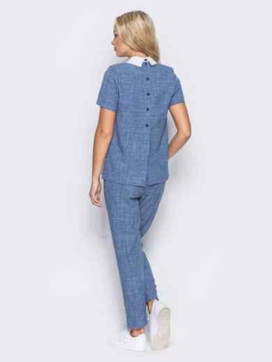 Синий комплект с имитацией белой блузки под футболкой - 10486, фото 4 – интернет-магазин Dressa