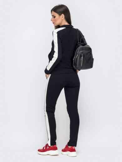 Спортивный костюм с лампасами из кофты и брюк чёрный 41598, фото 2