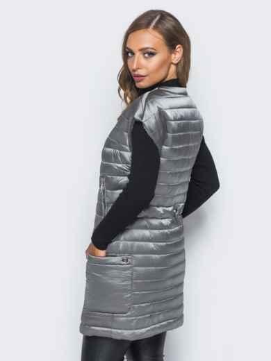 Жилет на молнии с кулиской на спинке серый - 16680, фото 3 – интернет-магазин Dressa