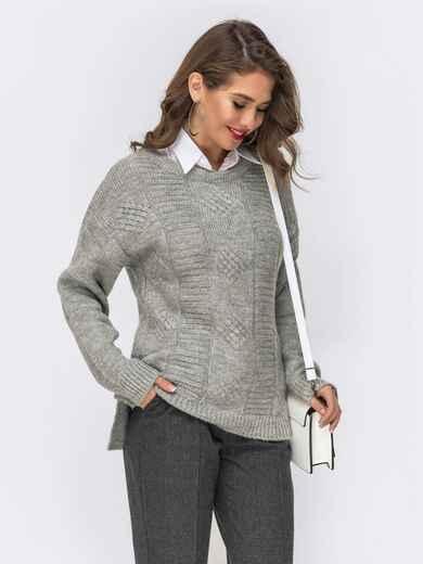 Ажурный свитер с разрезами по бокам серый 41838, фото 1